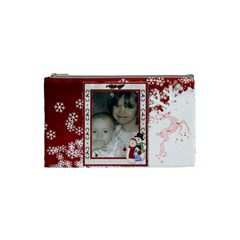 Red And White Snowflake Cosmetic Bag (small) By Kim Blair   Cosmetic Bag (small)   9o1z01dstaw0   Www Artscow Com Front
