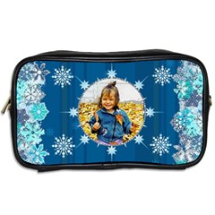 Blue Snowflake Manicure Bag (2 Sides) By Kim Blair   Toiletries Bag (two Sides)   Bwppr80oyxmm   Www Artscow Com Back