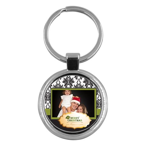 Merry Christmas By Angena Jolin   Key Chain (round)   Ppjb3dgnb0x5   Www Artscow Com Front