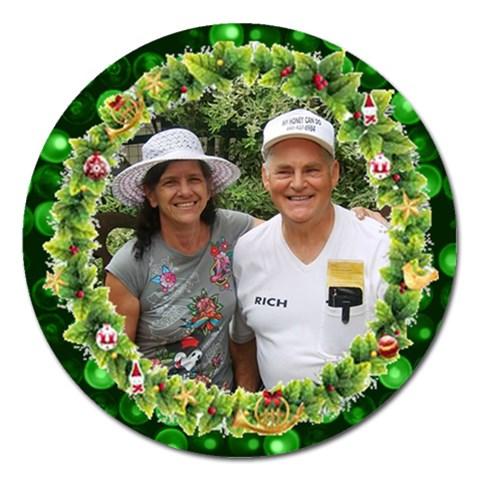 Wreath Ornament By Kim Blair   Magnet 5  (round)   Re5yado2qgds   Www Artscow Com Front