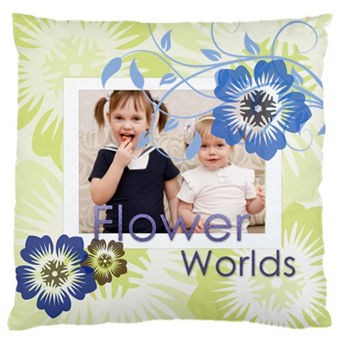 Flower Kids By Joely   Large Cushion Case (one Side)   52ai5hfxhl14   Www Artscow Com Front