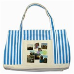 Flower Striped Blue Tote Bag