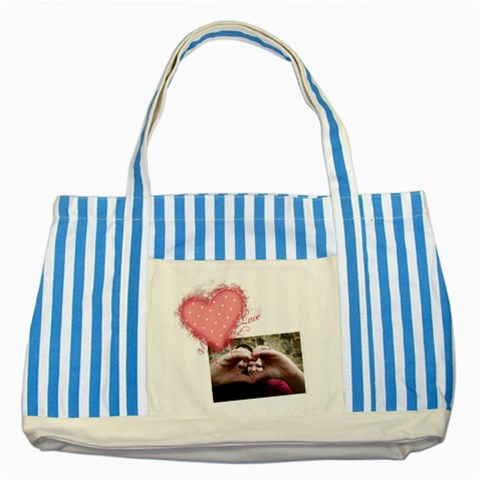 Love   Striped Blue Tote By Digitalkeepsakes   Striped Blue Tote Bag   Geuxpjn5t0dk   Www Artscow Com Front