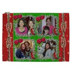 Red and Green with ivy frame cosmetic bag (XXL)