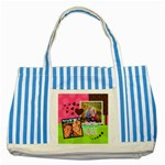 My Best Memories -Striped Tote Bag - Striped Blue Tote Bag