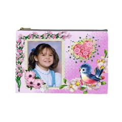 Happy Blue Bird Cosmetic Bag (large) By Kim Blair   Cosmetic Bag (large)   3tkcauxceetp   Www Artscow Com Front