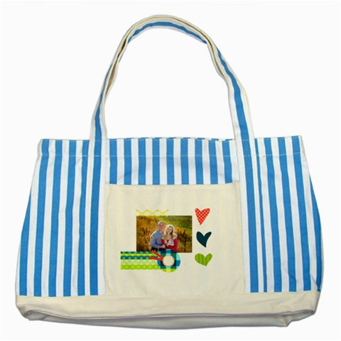 Playful Hearts By Digitalkeepsakes   Striped Blue Tote Bag   Vxb07wdn5l7a   Www Artscow Com Front