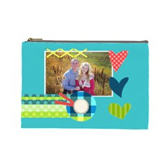 Playful Hearts By Digitalkeepsakes   Cosmetic Bag (large)   I0d4frayitaq   Www Artscow Com Front