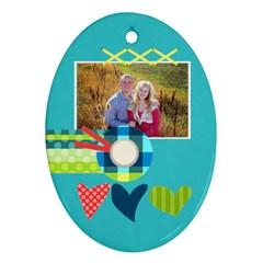 Playful Hearts By Digitalkeepsakes   Oval Ornament (two Sides)   Z16vb4a7ydju   Www Artscow Com Back