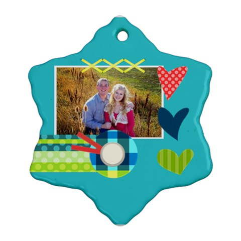 Playful Hearts By Digitalkeepsakes   Ornament (snowflake)   2sno1kr7kesm   Www Artscow Com Front