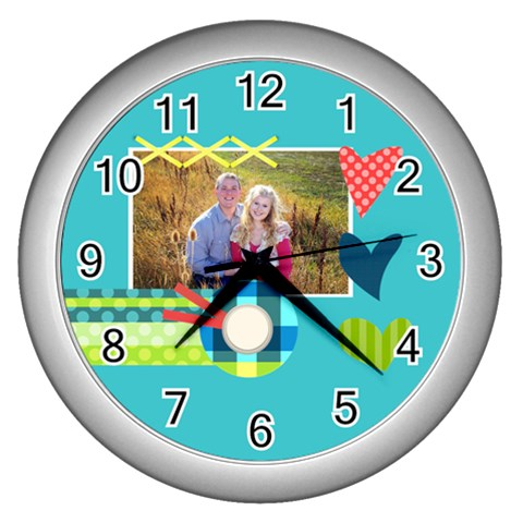 Playful Hearts By Digitalkeepsakes   Wall Clock (silver)   7rlwehrojcg5   Www Artscow Com Front