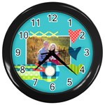 Playful Hearts - Wall Clock (Black)