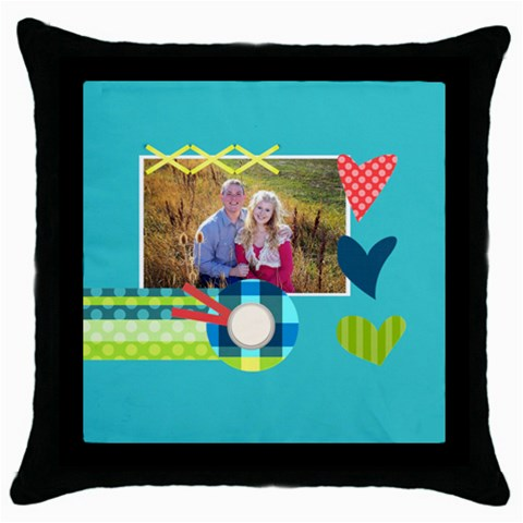 Playful Hearts By Digitalkeepsakes   Throw Pillow Case (black)   K15wv6s2r7l9   Www Artscow Com Front