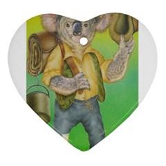 Green Gold Swaggie Heart Ornament (Two Sides) by Koalasandkangasplus