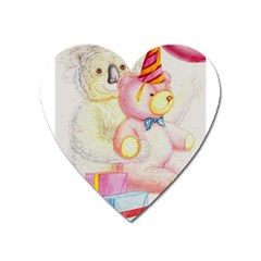 Koala And Bear  Large Sticker Magnet (heart) by Koalasandkangasplus