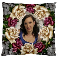 Roses And Lace Large Cushion Case (2 Sided) By Deborah   Large Cushion Case (two Sides)   Wkan5q12yomh   Www Artscow Com Front