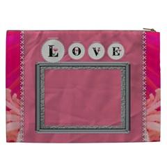 Pink Love Xxl Cosmetic Bag By Lil    Cosmetic Bag (xxl)   N2ekrjff7frj   Www Artscow Com Back