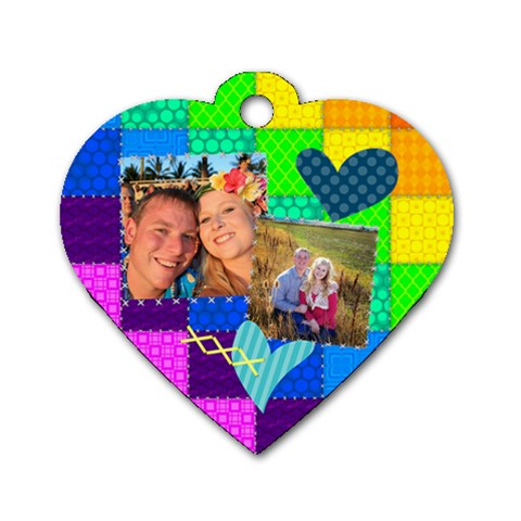 Stitched Quilted Rainbow By Digitalkeepsakes   Dog Tag Heart (one Side)   Xy14pi0p5io2   Www Artscow Com Front