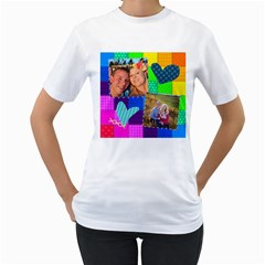 Stitched Quilted Rainbow By Digitalkeepsakes   Women s T Shirt (white) (two Sided)   H3ef3l6vilxi   Www Artscow Com Front