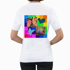 Stitched Quilted Rainbow By Digitalkeepsakes   Women s T Shirt (white) (two Sided)   H3ef3l6vilxi   Www Artscow Com Back