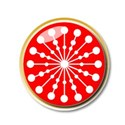 Red and white snowflake button