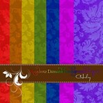 Rainbow Damask Background Papers
