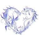 blue leaf swirl heart