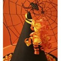 halloween witch hat and spider background