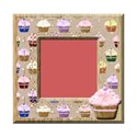 square pink distressed cupcake frame