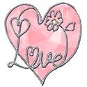 pink jewel heart word art