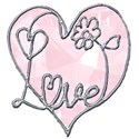 pink heart love wordart