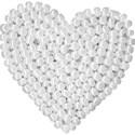 heart white beaded