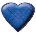 blue tartan stitched heart