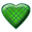green triple stitched heart