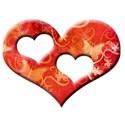 AC 3d I Heart You dbl frame peach puff