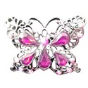 silver frame pink jewel butterfly