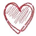 red glitter single heart