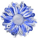 blue knitted flower