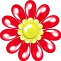 red flower yellow center