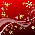 Christmas gold stars on red background