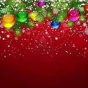 Christmas garland on red background
