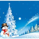 Christmas snowman on blue background