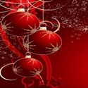 red Christmas balls on red background