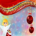 Angel and ornaments background