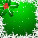 Green background with snowflake boarder
