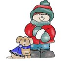 boy and dog in winter
