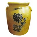Antique Crock Blue Flower